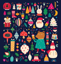 christmas funny collection vector image
