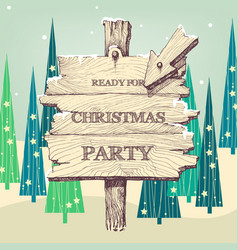 christmas wooden pointer to the party landscape vector image