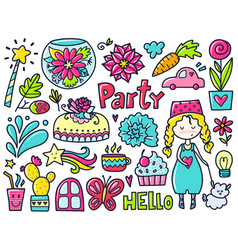 color doodles vector image