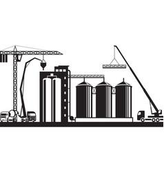construction of grain silo vector image