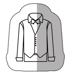 contour sticker suit with shirt waistcoat and vector image