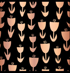 Copper foil tulip flower seamless pattern vector