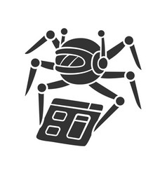 Crawler glyph icon spiderbot search engine vector