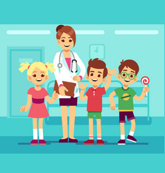 cute female pediatrician doctor and happy healthy vector image