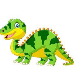 cute green dinosaur cartoon on white background vector image