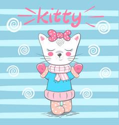 cute pretty love cat vector image