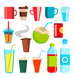 drink icons soda fast food coffee vector image
