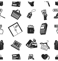 E-commerce pattern icons in black style Big vector