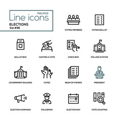 Elections - modern line design icons set vector