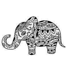 Elephant in ethnic patterns vector