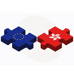 European Union and Hong Kong SAR China Flags in vector
