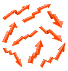 Financial indication arrows set orange 3d shiny vector