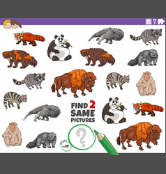 Find two same animal characters game for kids vector
