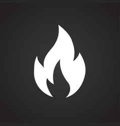 fire sign on black background vector image