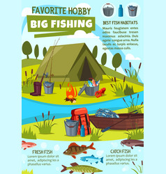 Fishing hobby poster with fisher camp at lake vector