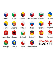 flag icon set hexagonal shape with captions vector image