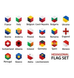 Flag icon set hexagonal shape with captions vector