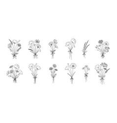 Floral line art bouquets set vector