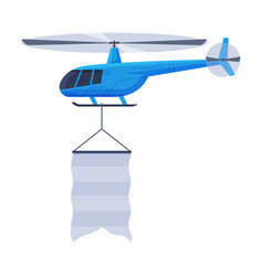 flying helicopter with blank banner air vehicle vector image