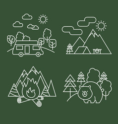 Forest activity linear icons thin line vector