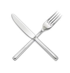 Fork knife set of utensils vector