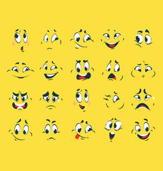 funny faces cartoon emotion expressions vector image