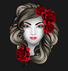 girl with roses tattoo concept vector image