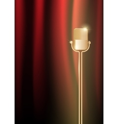 Gold old microphone against the illuminated red vector image