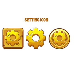 Gold settings icons different shapes vector