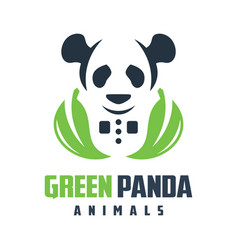 green panda logo design vector image