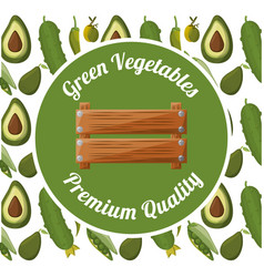 Green vegetables premium quality badge vector