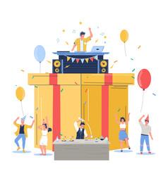 group people celebrating happy birthday vector image