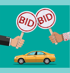 hands holding auction paddle and car vector image