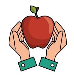 hands holds apple nutrition design vector image