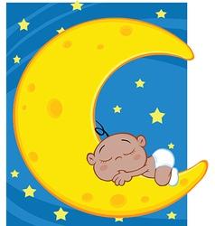 Happy cartoon moon vector image