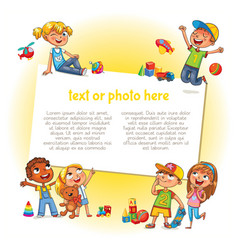 Happy children holding blank poster vector