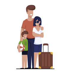 Happy family going on vacation search rent house vector
