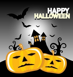 Happy Halloween Card with Spooky Castle Bats and vector