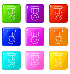 Hockey medal icons set 9 color collection vector