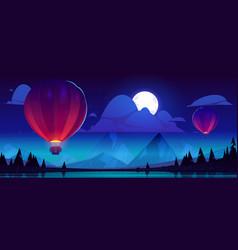 Hot air balloons fly over mountain lake at night vector