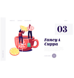 hot beverage for cold season website landing page vector image