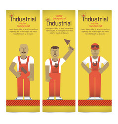 industrial workmen banners set vector image