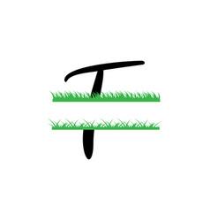 initial t grass monogram split letter isolated vector image