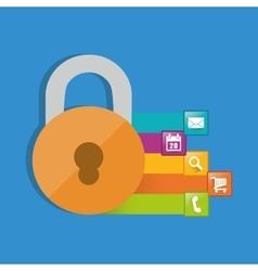 internet security padlock social media vector image