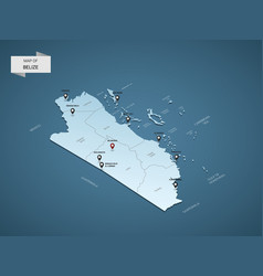 isometric 3d belize map concept vector image
