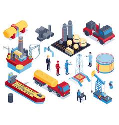 Isometric petroleum industry icon set vector