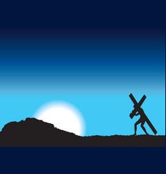 Jesus carries cross vector