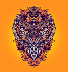 king owl colorful ornaments vector image