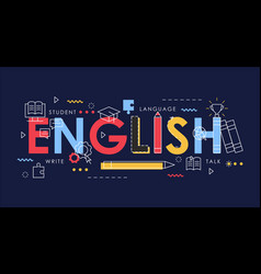 learn english thin line vector image