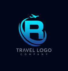 letter r tour and travel logo design vector image